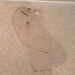 Ankle length drawstring khakis